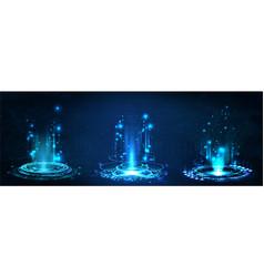 fantastic circle portals holograms teleport vector image