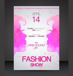 Fashion show flyer face to face pink women vector