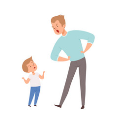 father and son argue isolated angry man and cute vector image