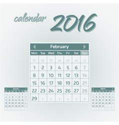 February 2016 vector image