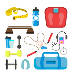 fitness icons set sport tools accessories vector image vector image