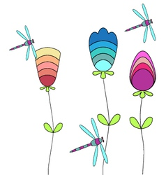 Flowers and dragonflies background vector