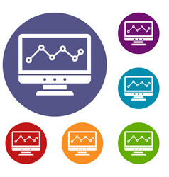 graph in computer screen icons set vector image