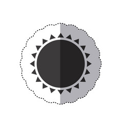 Gray silhouette sticker with abstract sun close up vector