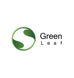 Green leaf curcle logo vector