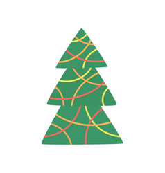 green xmas tree decorated with christmas garland vector image