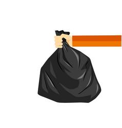 Hand holding black plastic trash bag image vector