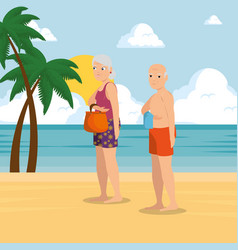 happy couple of lovers on the beach vector image