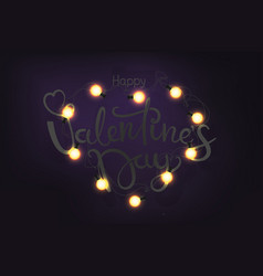 happy valentines day shining heart and lettering vector image