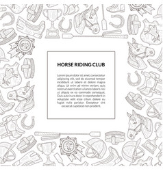 Horse riding club banner template with place vector