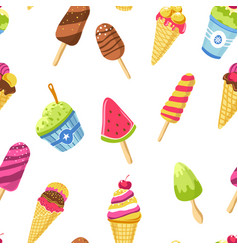 ice cream with different tastes and shapes tasty vector image