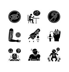 Illness types black glyph icons set on white space vector