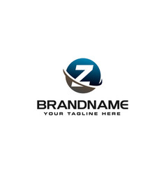 initial z technology swoosh company letter logo vector image