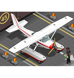 Isometric Landed Seaplane Out of Hangar vector