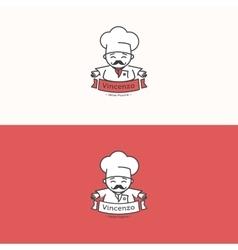 Italian chef head mascot logotype Pizzeria vector image