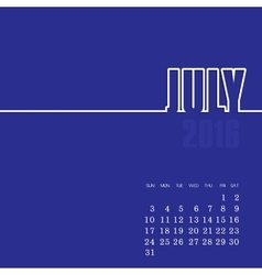 July 2016 year calendar vector