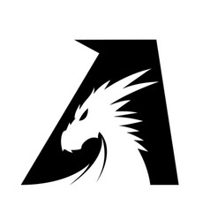 Letter a dragon head - black vector