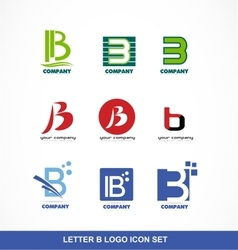 Letter B icon logo set vector image