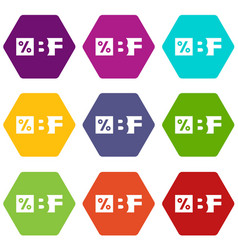 Letters bf black friday and percentage icons set 9 vector