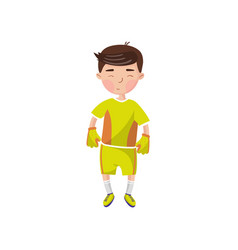 little boy in sport uniform football player kids vector image