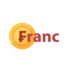 logo with phrase - franc and golden coin vector image