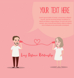 Long distance relationship ldr phone couple in vector