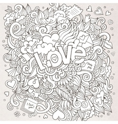 Love hand lettering and doodles elements sketch vector image