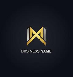 M initial line shape company gold logo vector