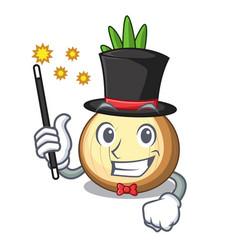 Magician fresh yellow onion isolated on mascot vector