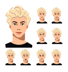 Man face with different emotions vector