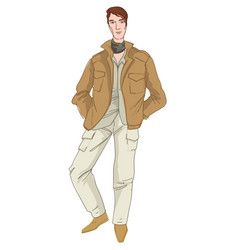 Man wearing safari or military style clothing vector