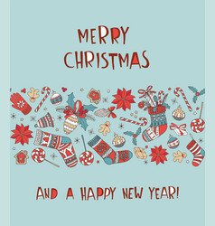 merry christmas doodle greeting card background vector image