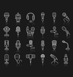 microphone simple black line icons mic set vector image