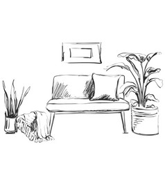 Modern interior room sketch hand drawn sofa vector