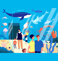 Oceanarium visitors underwater aquarium family vector