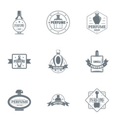 Odour logo set simple style vector
