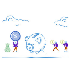 people save money piggy bank dollar coin percent vector image