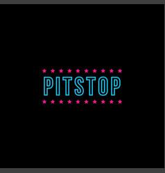 Pit stop wordmark logo icon on black background vector