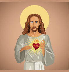 Portrait jesus christ sacred heart vector