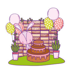 rabbit with sweet cake and balloons in the vector image