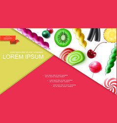 Realistic sweet products composition vector