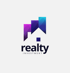 Realty house investment logo design vector