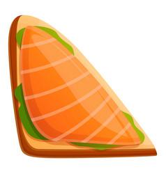 Salmon toast icon cartoon style vector