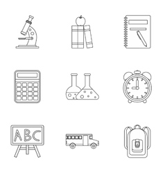 Schoolhouse icons set outline style vector image