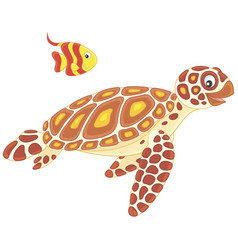Sea turtle and butterflyfish vector
