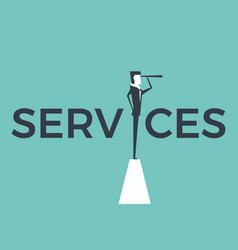 Service concept with businessman and telescope vector