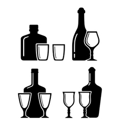 set alcohol beverage icons with bottle and glass vector image
