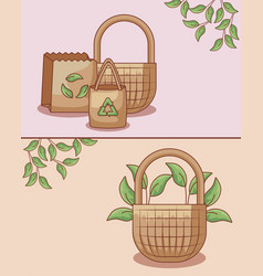 Set bags ecological and baskets wicker vector