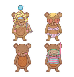set bear with hat and swimsuit with water mask vector image