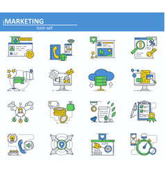 set digital and social media marketing vector image